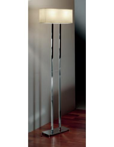 FLOOR LAMP POLISHED CHROME C/LAMPSHADE PLASTIC