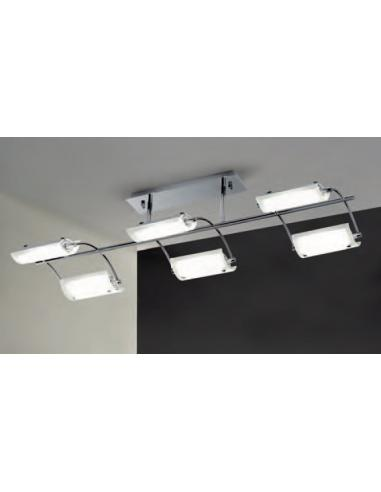 CEILING LIGHT POLISHED CHROME C/VETRI SATINATI