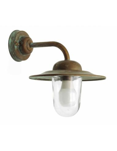 Lanterna Ottone Antichizzato Ramato, Vetro Trasparente