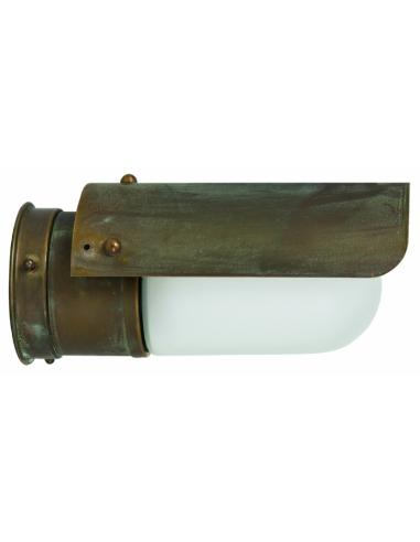 Wall lamp in Brass Antique-Copper, Opal Glass