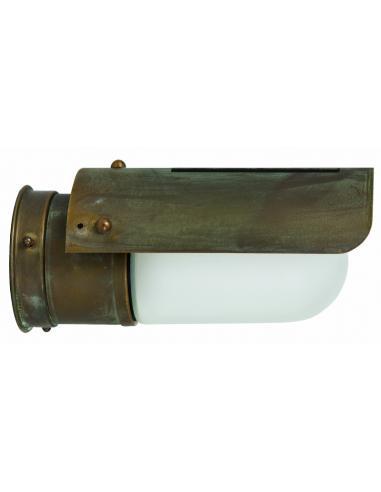 Lampada a parete in Ottone Antichizzato Ramato, Vetro Opale