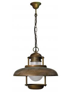 Suspension Brass Antique-Copper, Opal Glass