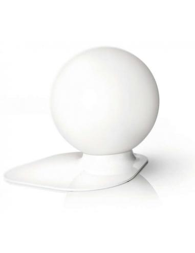 Table lamp white base ball white frosted glass