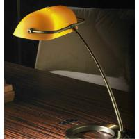 Pan TAV342 Ales Table Lamp Brass Brushed Amber Glass