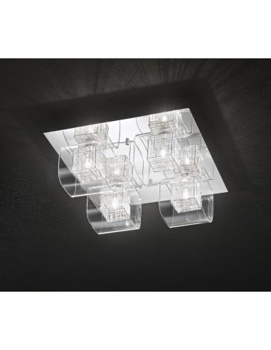 CEILING light POLISHED CHROME C/ CLEAR GLASS 40x40cm