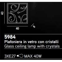 CEILING light IN GLASS WITH CRYSTALS 40x40cm