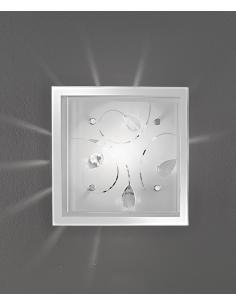 PLAFONIERA IN VETRO CON CRISTALLI 25x25cm