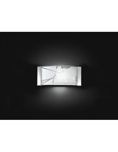 APPLIQUE METALLO C/VETRO DECORATO 33x16cm