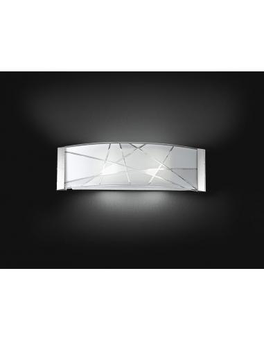 APPLIQUE METAL C/DECORATED GLASS 33x16cm