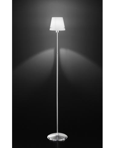 FLOOR LAMP POLISHED CHROME C/WHITE GLASS