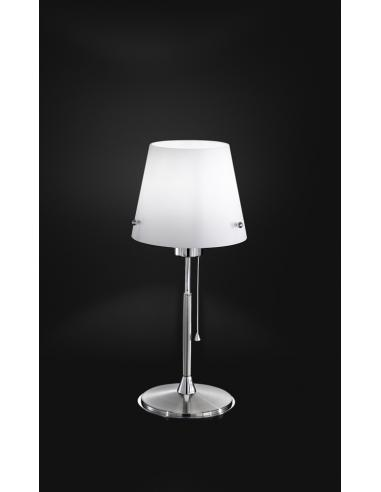 TABLE LAMP POLISHED CHROME C/WHITE GLASS