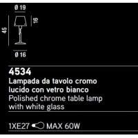 LAMPADA DA TAVOLO CROMO LUCIDO C/VETRO BIANCO
