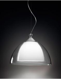 SUSPENSION POLISHED CHROME C/ CLEAR GLASS AND WHITE 44x30cm