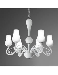 SUSPENSION IN METAL AND WHITE GLASS ø66cm