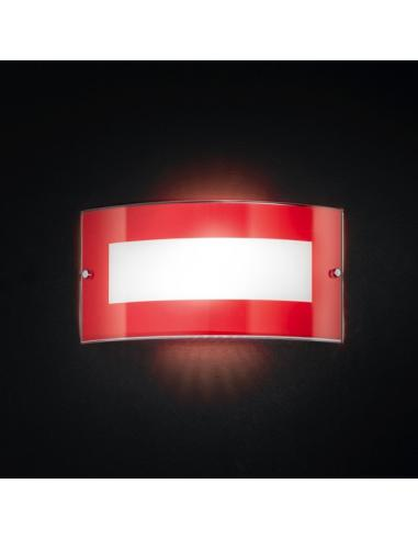 Wall SCONCE with RED GLASS 33x17cm