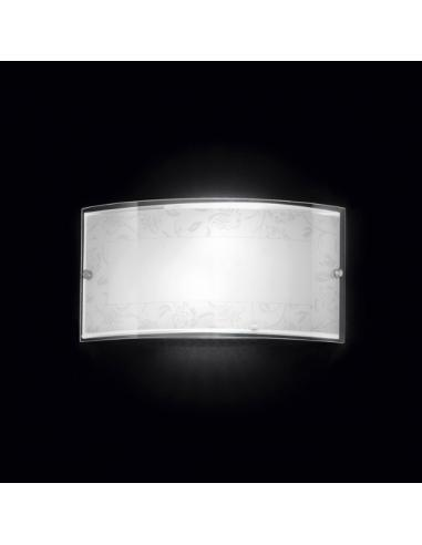 Wall SCONCE IN GLASS WITH WHITE DECORATION 33x17cm