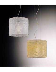 SUSPENSION MURANO GLASS GRIT WHITE SILVER