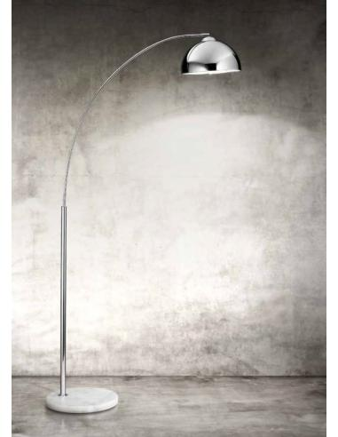 FLOOR LAMP IN METAL POLISHED CHROME WITH MARBLE BASE