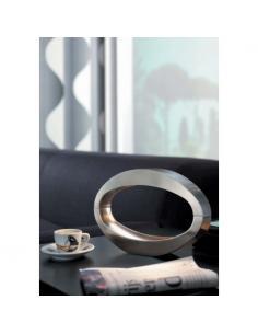 BERIO - Lampada tavolo - Metallo ovale alluminio spazzolato