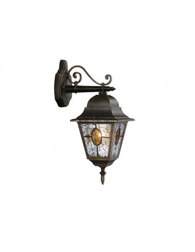 Munchen - Lampada da parete lanterna down in vetro smerigliato nero anticato