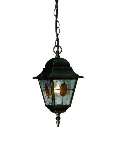 Munchen - Sospensione lanterna in vetro smerigliato nero anticato 1 x E27 60W (Lampadina escl.)