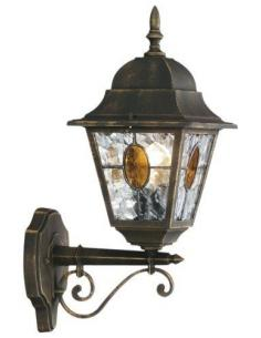 Munchen - Lampada da parete lanterna up vetro smerigliato nero anticato