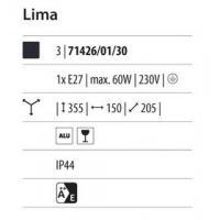 Lima - Lampada da parete lanterna down nero 1xE27 60W (Lampadina escl.)