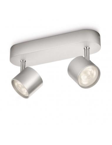 Star - LM Barra spot 2 luci LED grigio alluminio
