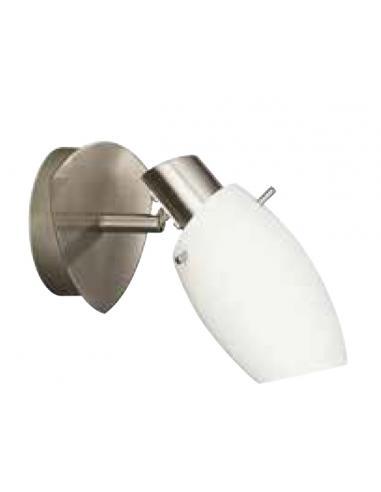 Usagi - Spot singolo acciaio spazzolato e vetro satinato bianco