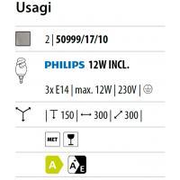 Usagi - Lampada da soffitto spirale spot 3 luci acciaio spazzolato e vetro satinato bianco