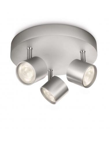 Star - LM Lampada da soffitto 3 spot LED grigio alluminio