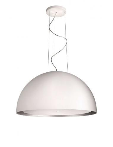 SKIVE Sospensione cupola bianca vetro/metallo
