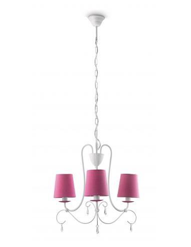 Princess - Hanging chandelier white 3 shades of fuchsia