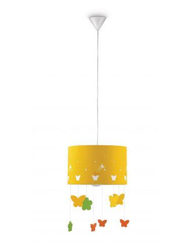 Maripo - Sospensione gialla con farfalle pendenti