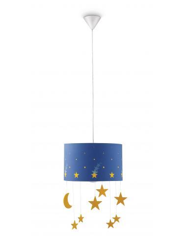 Maripo - Sospensione paralume blu con stelle pendenti