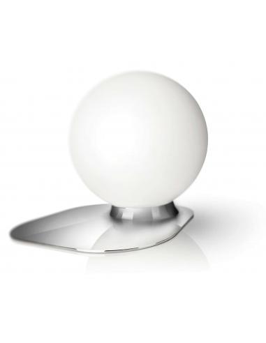 Wonder - Lampada da tavolo base cromo palla vetro bianco satinato