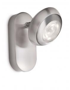 Sepia - LM Spot singolo LED acciaio spazzolato con dettaglio cromo
