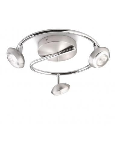 Sepia - LM Spot 3 LED lights in the shape of a spiral, brushed stainless steel with chrome