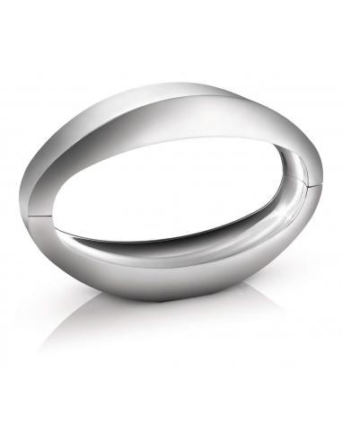 Nister - Lampada da tavolo LED ovale in alluminio spazzolato