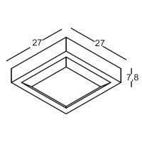 APPLIQUE/CEILING light IP54 ANTHRACITE 27x27