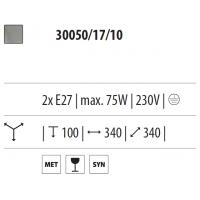 UNIVERSE - Plafoniera - Diam. 34 cm metallo acciaio vetro
