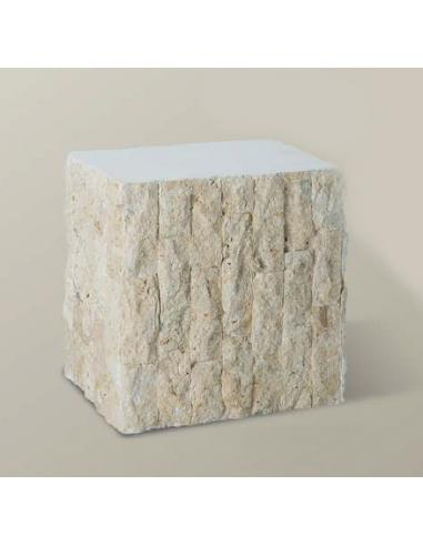 PEDESTAL IN WOOD RIV. WITH STONE 40x30x40