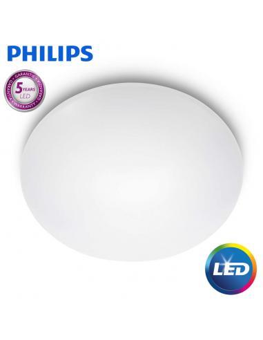 Suede - LED ceiling Lamp round white medium 38cm 24W