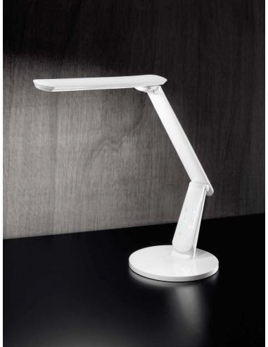 Lampada da tavolo in plastica colore bianco con porta usb