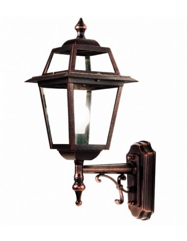 Wall lamp for the exterior, black/copper glass-transparent