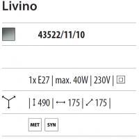 LIVINO, lampada conica in policarbonato, argento lucido