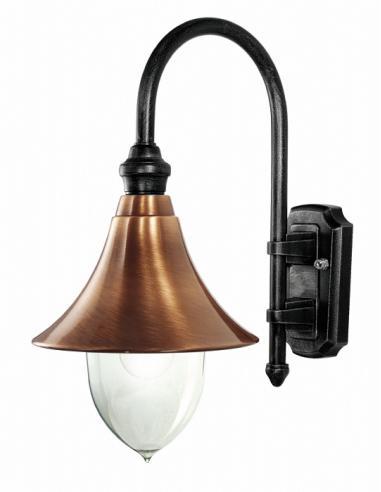 Lampada da parete nero/rame antichizzato
