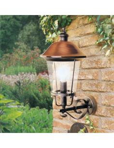 The lantern to the wall for the black exterior/copper antique