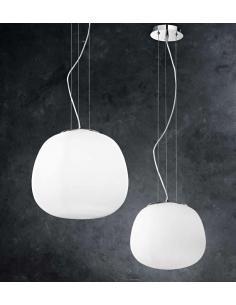 Sospensione grande base cromo lucido/vetro bianco