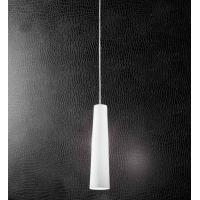 Sospensione singola in cromo spazzolato con vetro bianco